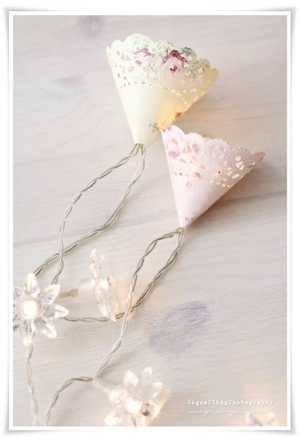 Dekoracijos su popierinėmis servetėlėmis (doillies)