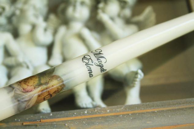 Krikšto žvakė - su vardo užrašu bei nėriniais
