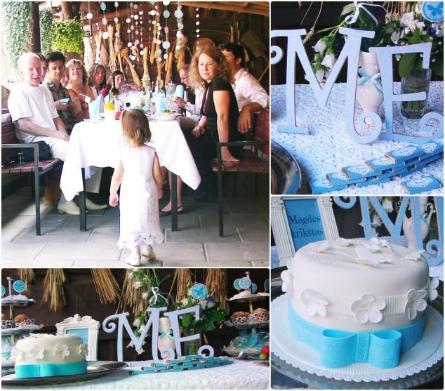 Krikštynų dekoras - žydra, balta