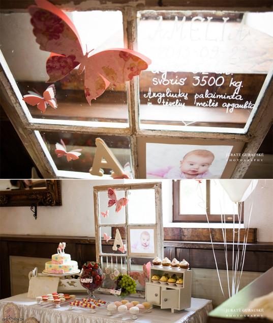 Dekoruotas medinis langas ant saldaus stalo