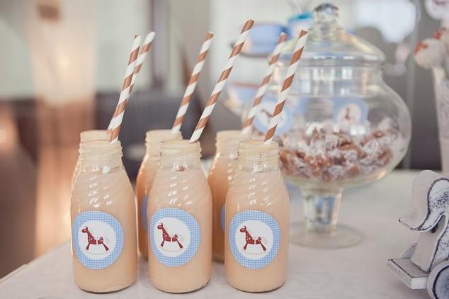 Arkliukų tema krikštynos - žydros/rudos spalvos - buteliukai su šiaudeliais