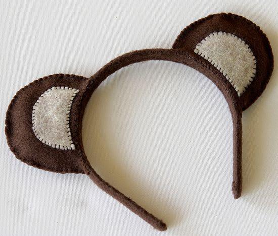 Meškukio kostiumas - lankelis su ausytėmis