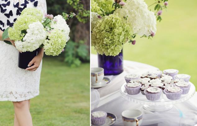 Hortenzijos ir saldaus stalo dekoras