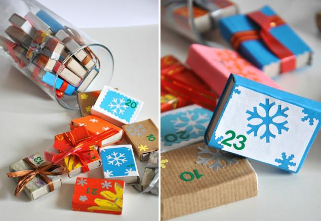 Advento kalendorius su degtukų dėžutėmis