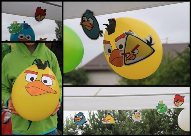 Angry birds dekoracijos iš balionų