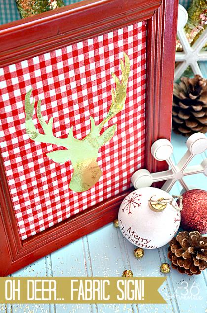 Kalėdinė dekoracija - pasidaryk pats - rėmelis su elniu ant medžiagos