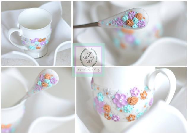 Dovana - dekoruotas puodelis ir šaukštelis