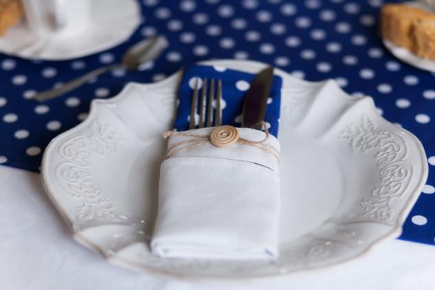 Mėlynos su taškeliais servetėlės