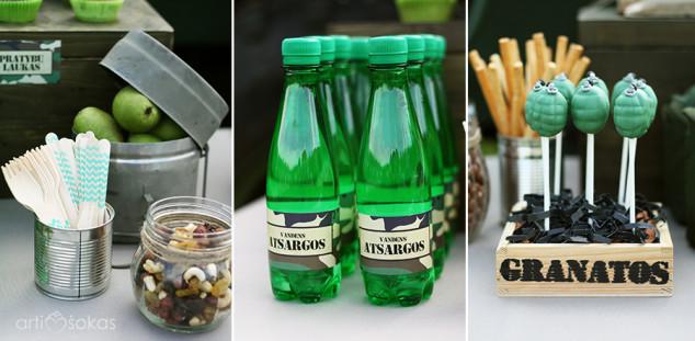 Berniukų gimtadienis karine tema - vaišės, buteliukai su etiketėmis