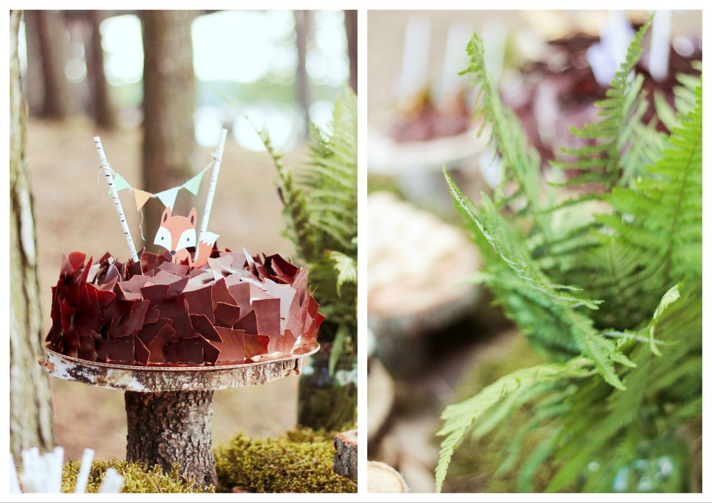 Originalus šokoladinis tortas su girlianda ir lape