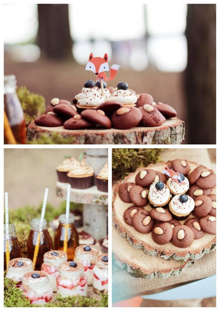 Lapiuko gimtadienis miško tema: saldus stalas, samanos, mediniai padėklai, smeigtukai