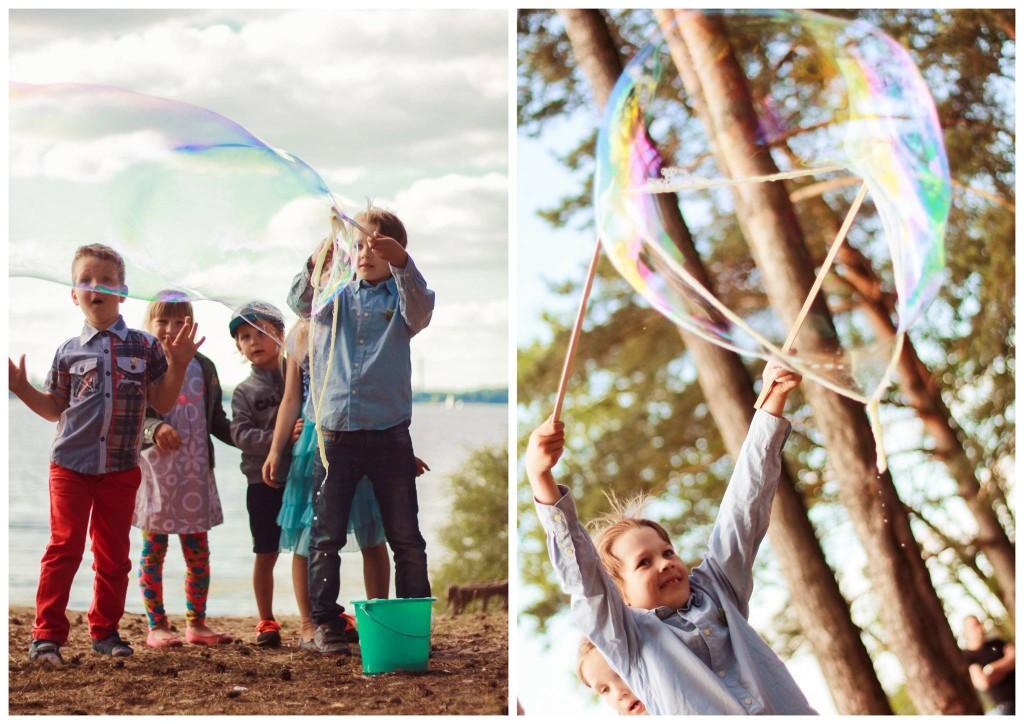 Gimtadienio žaidimai miške, gamtoje - muilo burbulai