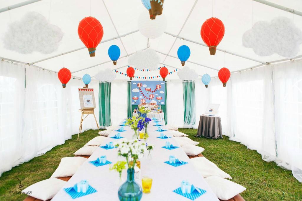 Paviljono dekoras, puošimas, balionai, girliandos