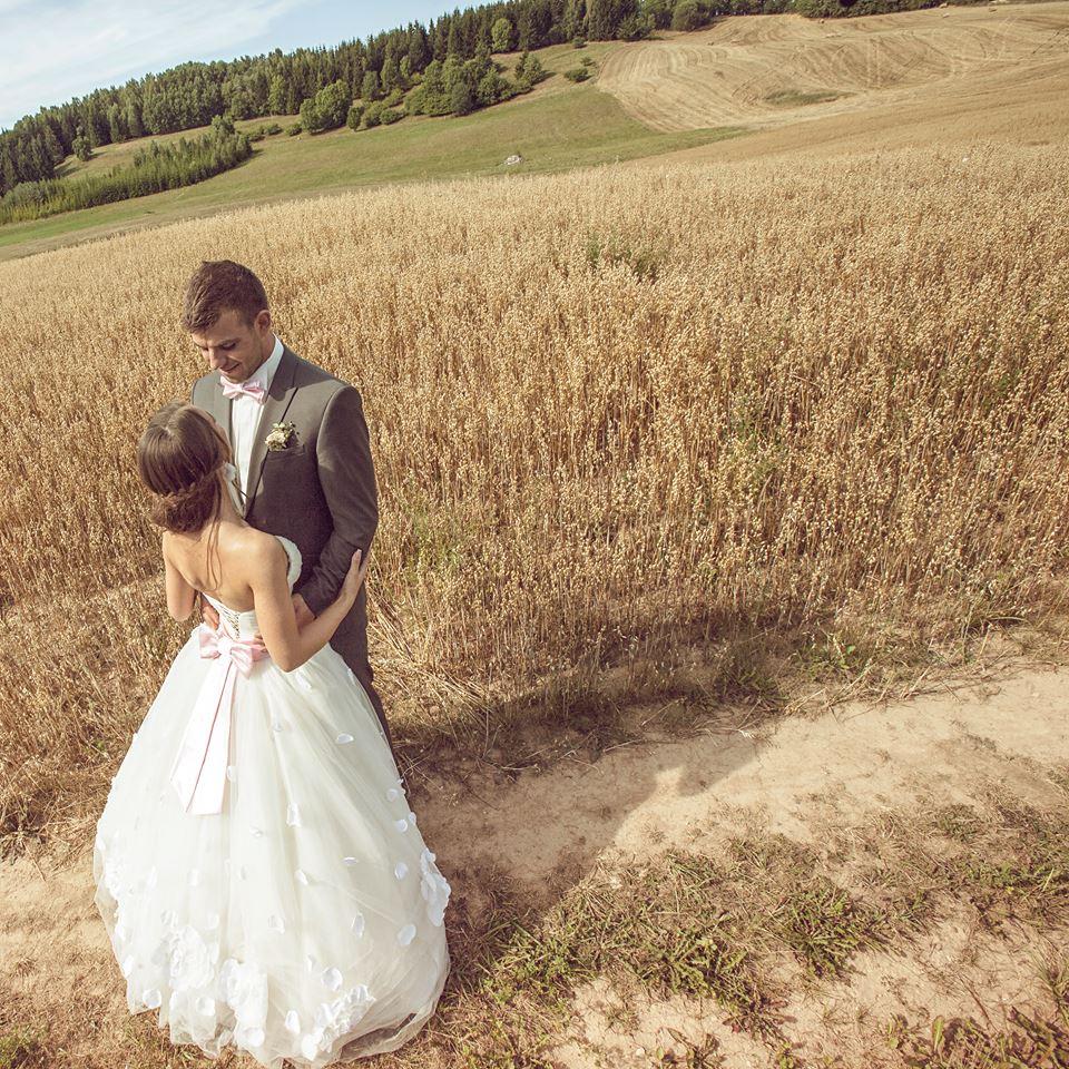 Vestuvės, fotosesija tarp rugių