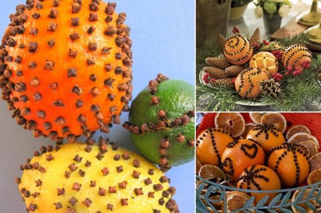 Apelsinų ir citrinų pomanderiai - idėja Kalėdoms