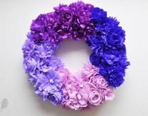 Popierinių gėlių Ombre vainikas