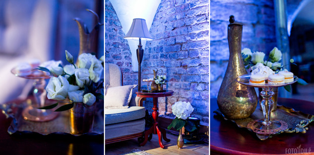 Mėlynos arba Blue Royal vestuvių dekoras, foto kampas