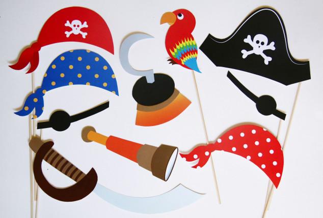 Teminio piratų gimtadienio foto atributai ant pagaliuko fotosesijai