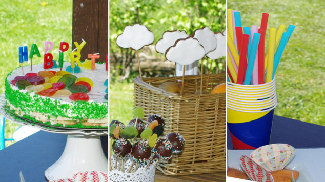 Vaikų gimtadieniai - balionai, debesėliai ir spalvoti šiaudeliai