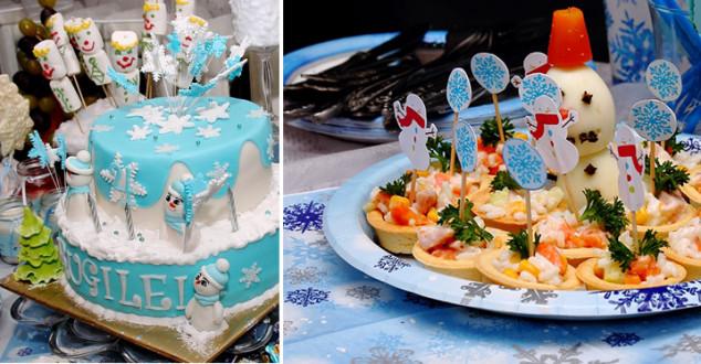 Žiemos gimtadienio tortas su snaigėmis