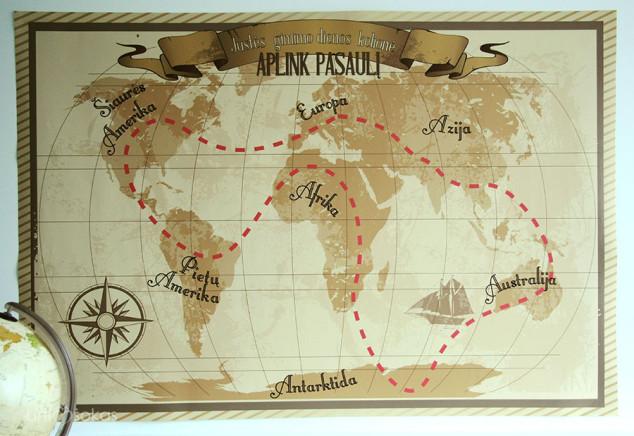 Vintažinis pasaulio žemėlapis