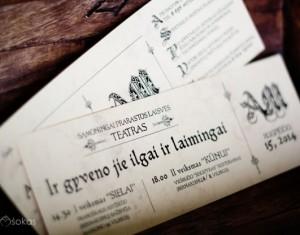 Vestuvių kvietimai – teatro bilietas