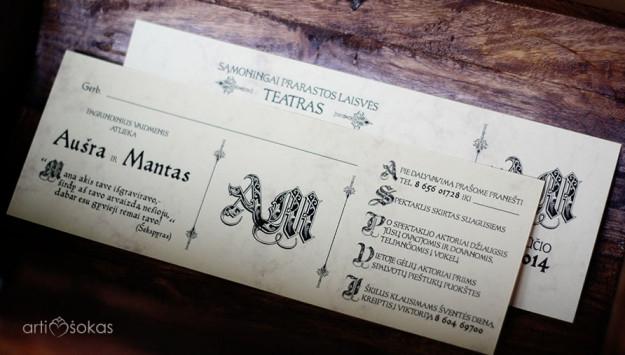 Vestuvių pakvietimai - teatro bilietas