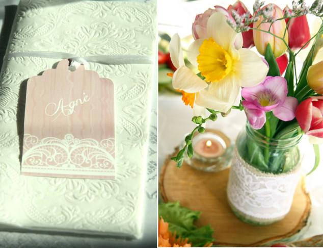 Tulpės, narcizai, nėriniai, medžio rinkės - gimtadienio dekoro sprendimai