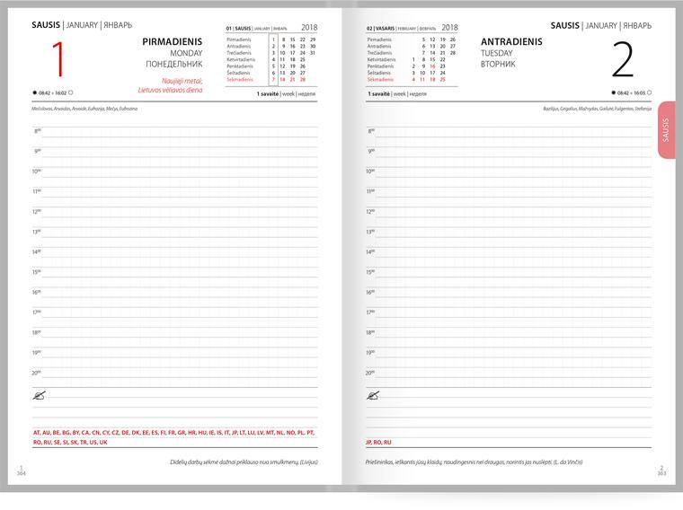 Asmeninis darbo kalendorius su logotipu, individualiu dizainu