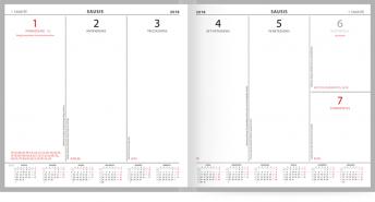 Savaitės kalendorius viename puslapyje darbo knygoje