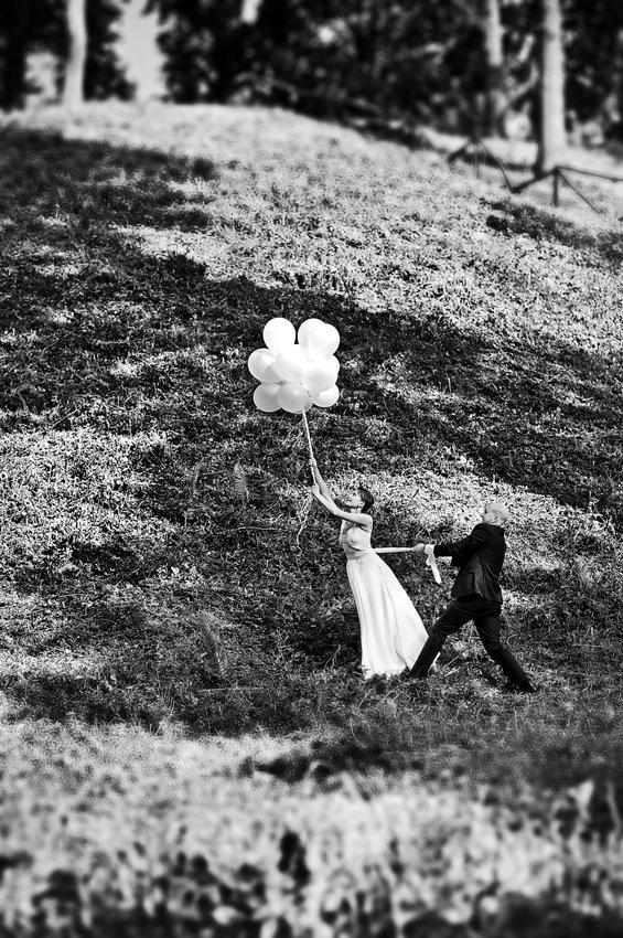 Vestuvių fotsesija su balionais