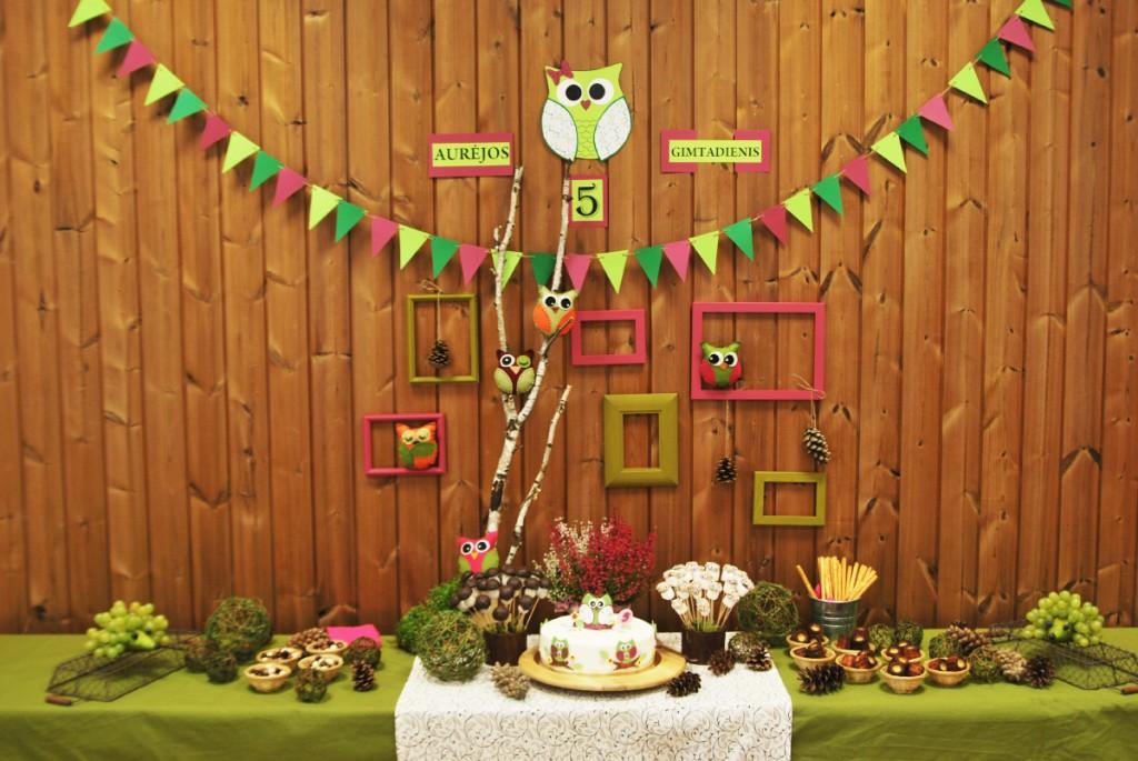 Pelėdžiukų teminis gimtadienis - mergaičių ir berniukų gimtadienių idėjos