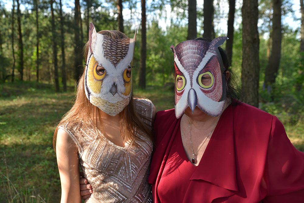 """Fotosesija su kaukėmis """"pelėdos"""""""