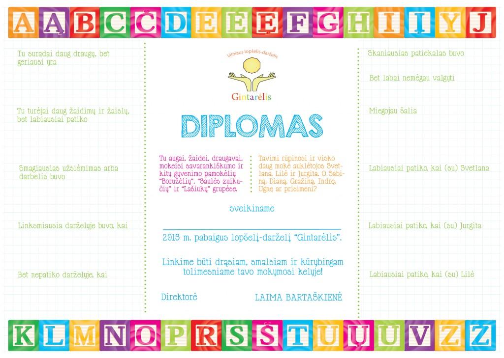 Darželio diplomas, išleistuvės