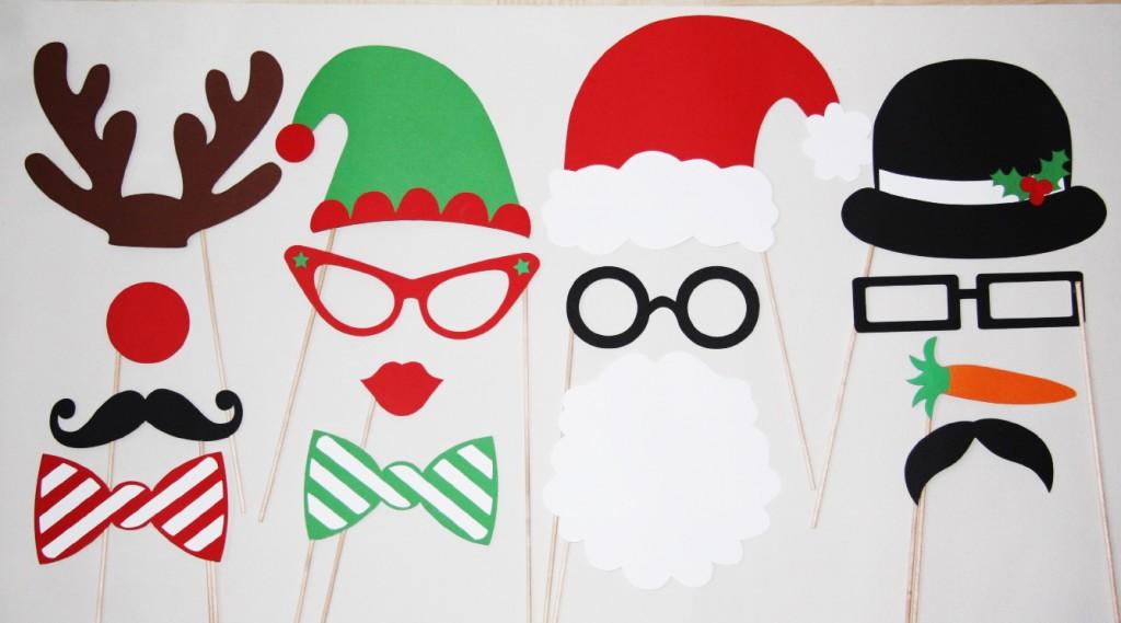 Foto rekvizitai, atributai ant pagaliuko - Kalėdos
