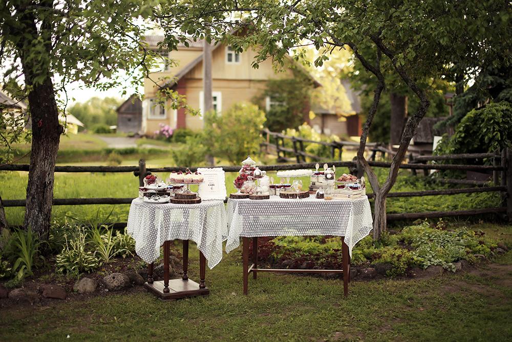 Desertų vaišių stalas vestuvėse, gamtoje, rustic stilius