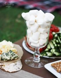 Sūrių užkandėlė (asorti) ant rąsto padėkliuko, marshmellows