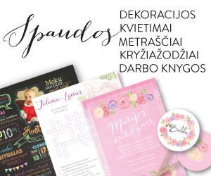 Individualios spaudos dekoracijos, kvietimai, darbo knygos, metraščiai, kryžiažodžiai