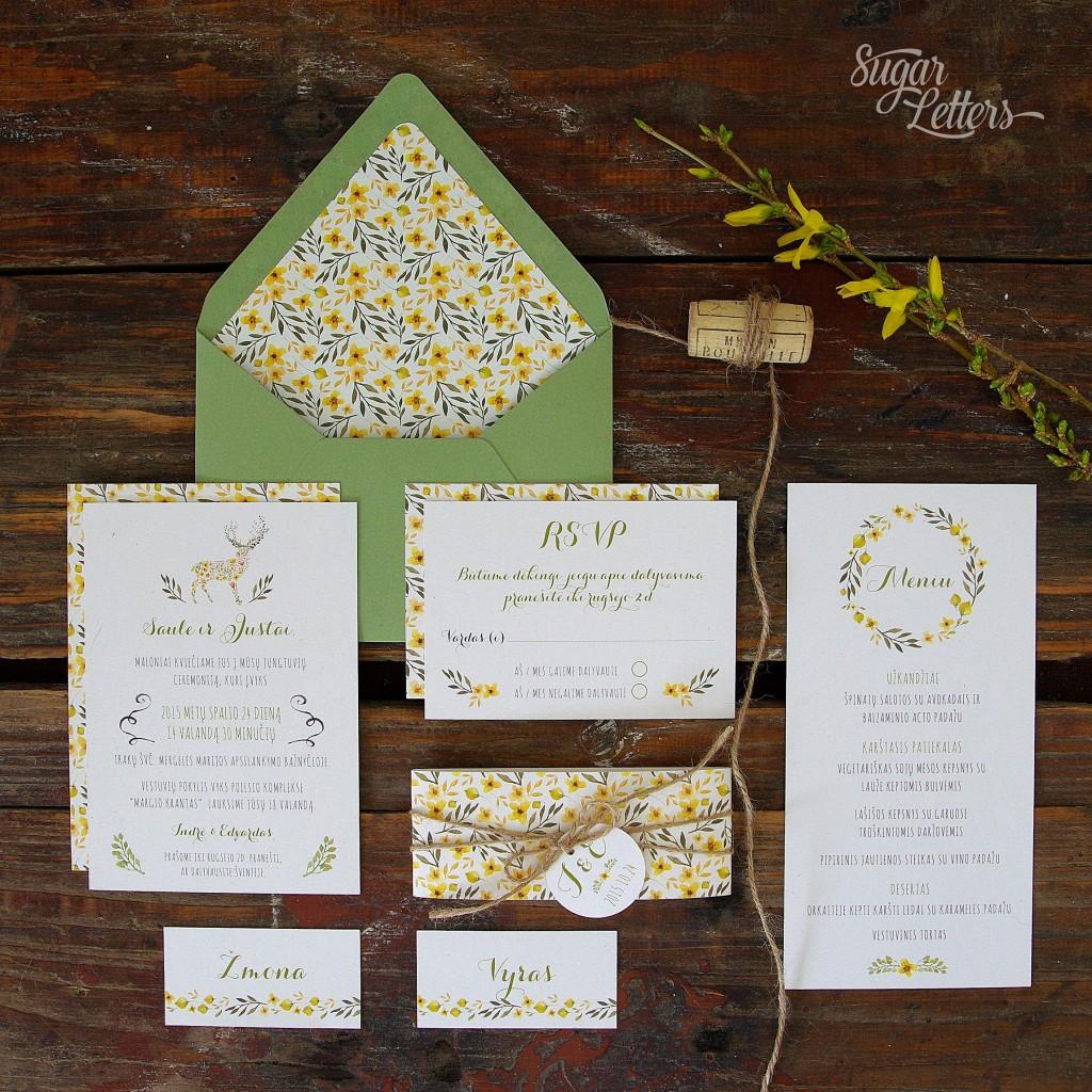 miško tematiniai vestuvių kvietimai