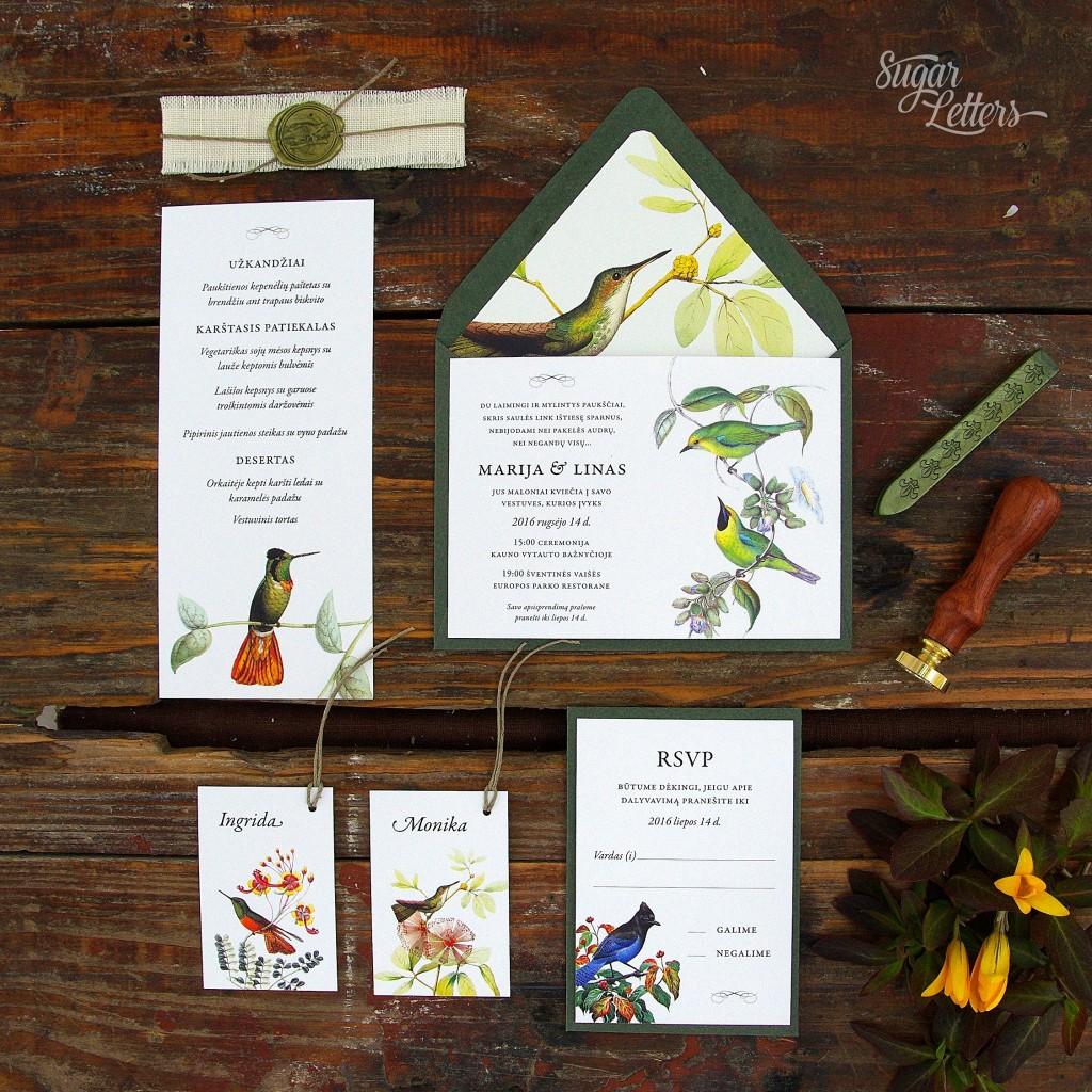 Vestuvių kvietimai su paukščiais