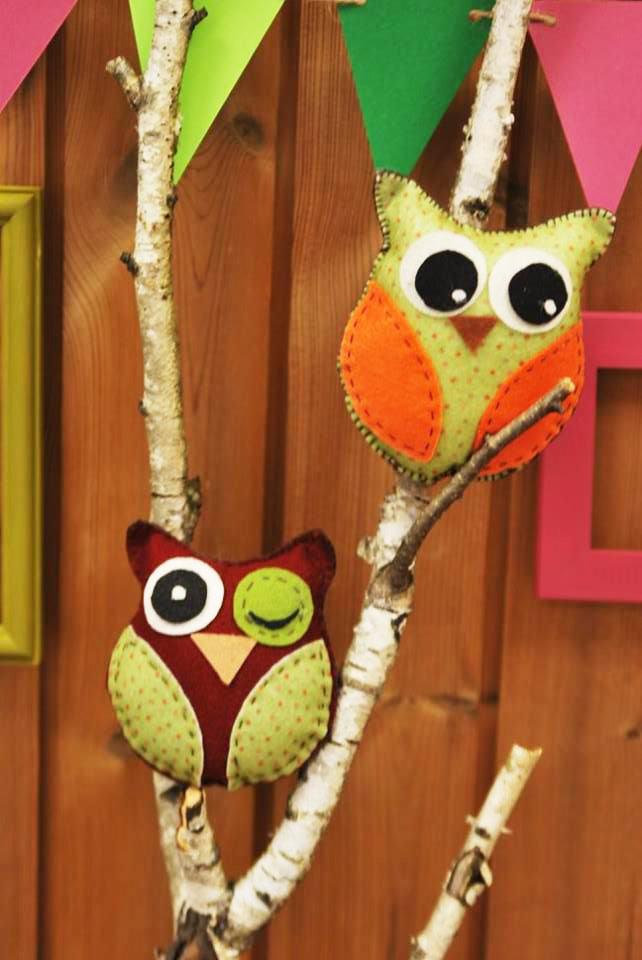 pelėdžiukai - dekoracijos