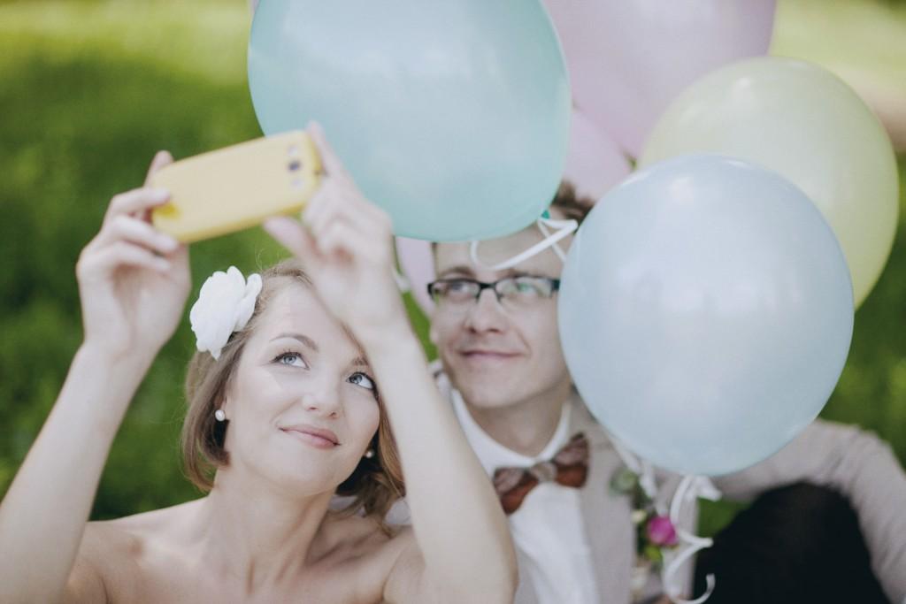Vestuvių fotosesija su balionais