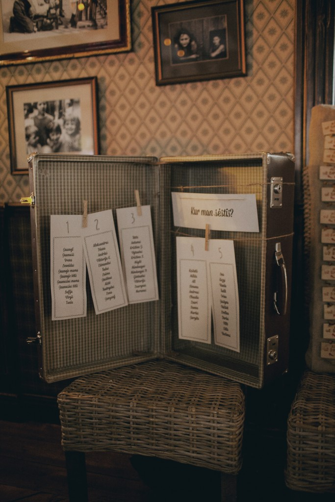 Vestuvės, sėdėjimo planas sename lagamine