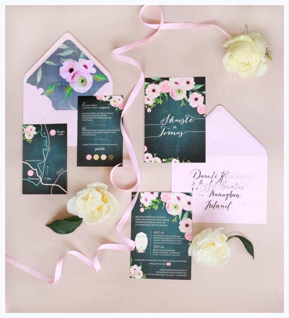 Gėlėti vestuviniai kvietimai juodi ir rožiniai gėlėti, su voku